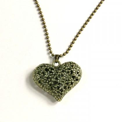 Náhrdelník srdce z květů - bronzový