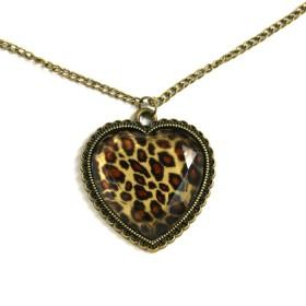 Náhrdelník srdce se zvířecím vzorem