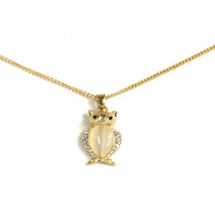 Náhrdelník sova - zlatý