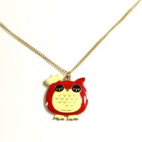 Náhrdelník roztomilá sovička - červená