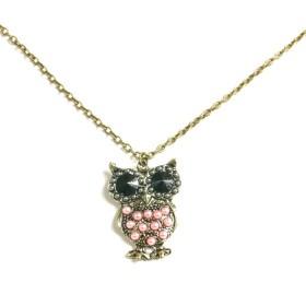 Náhrdelník sova s růžovými perličkami