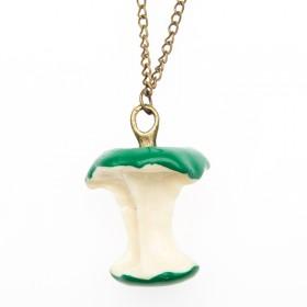 Vtipný náhrdelník retro okousané jablko - zelené