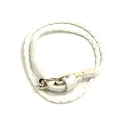 Náramek kožený s přezkou - bílý