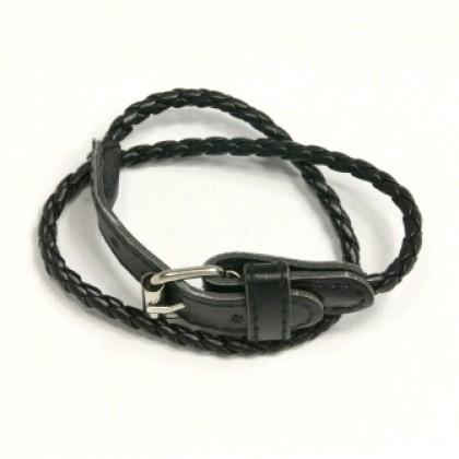 Náramek kožený s přezkou - černý