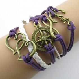 Náramek fialový s kompasem