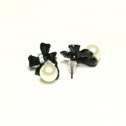 Náušnice mašličky s perlou