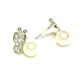 Náušnice motýlek s perlou