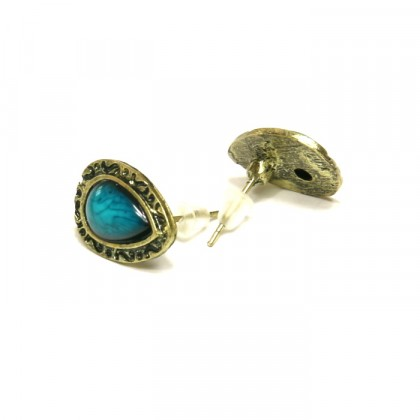 Náušnice s modrým kamenem