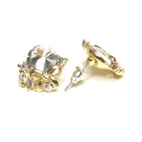 Náušnice světle fialový kamínek - zlaté
