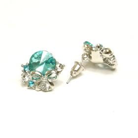 Náušnice modrý kamínek - stříbrné