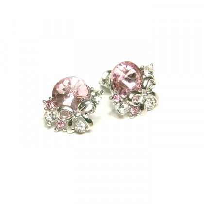 Náušnice růžový kamínek - stříbrný odstín