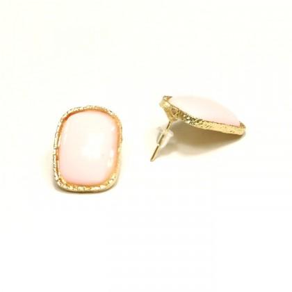 Náušnice obdelníkové - růžové