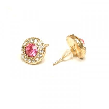 Náušnice kulaté - růžové