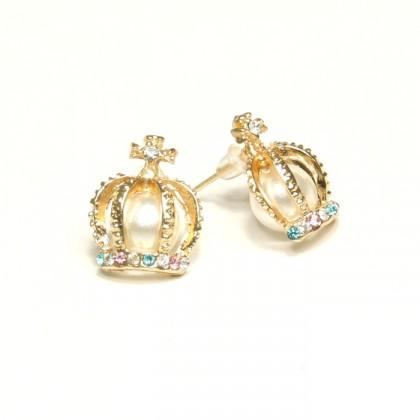 Náušnice koruny s perlami