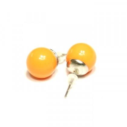 Náušnice kuličky - oranžové
