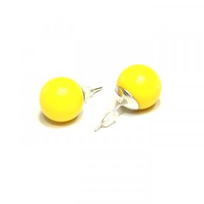Náušnice kuličky - žluté