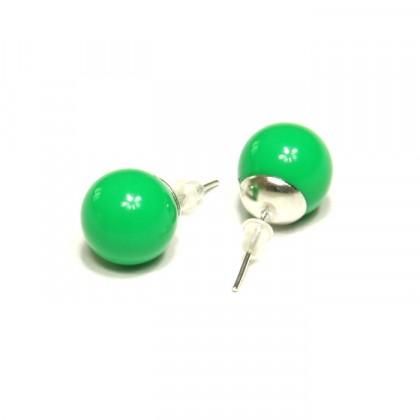 Náušnice kuličky - zelené