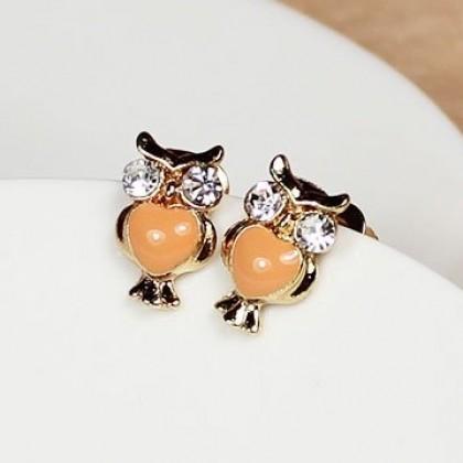 Náušnice oranžové sovy