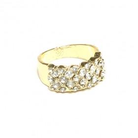 Prsten s kamínky - zlatý