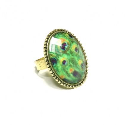 Prsten oválný - zelený