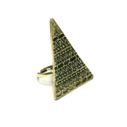 Prsten trojúhelník - zlatý odstín