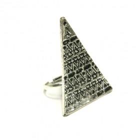 Prsten trojúhelník - stříbrný odstín