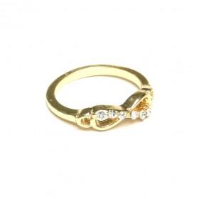 Prsten nekonečno s kamínky - zlatý