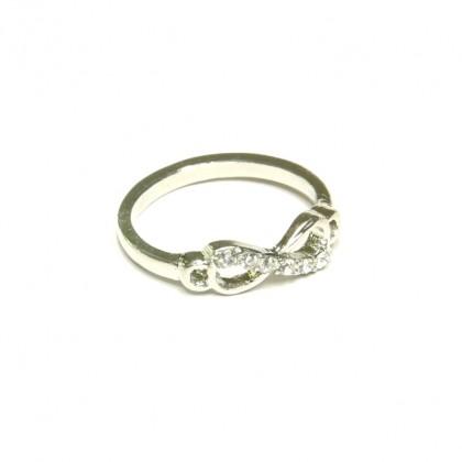 Prsten nekonečno s kamínky - stříbrný