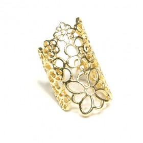 Prsten velké květy - zlatý odstín