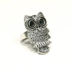 Prsten sova - stříbrný odstín