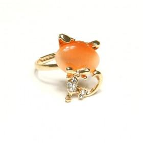 Prsten kočka s oranžovou hlavou