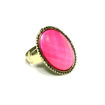 Prsten oválný - růžový