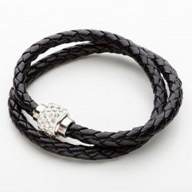 Vícevrstvý náramek s korálkem - černý