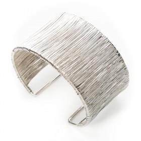 Moderní drátěný náramek - stříbrný